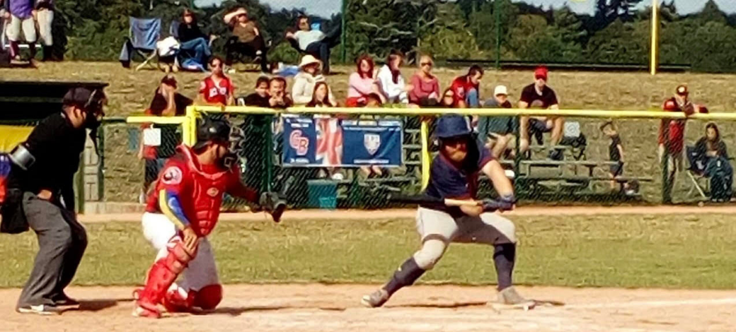 Badgers' first baseman George Braeger in action in the BBF national AA final